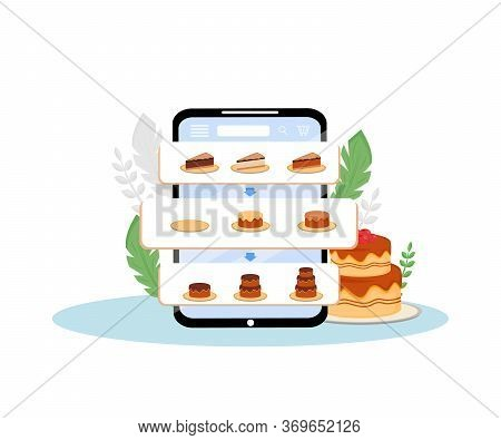 Online Cakes Order Mobile Application Flat Concept Vector Illustration. Pie Assortment, Sweet Bakery