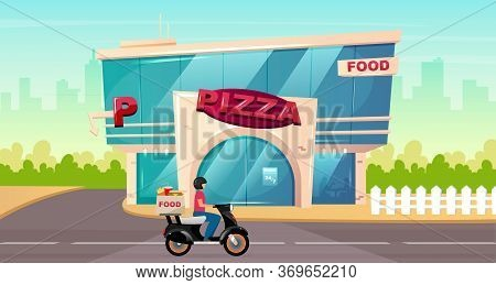 Pizza Place On Street Flat Color Vector Illustration. Fast Food Delivery On Motorbike. Cafe Exterior