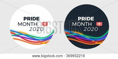 Pride Month 2020 Logo Template For Social Media Post - Abstract Colorful Lines Vector Pride Illustra