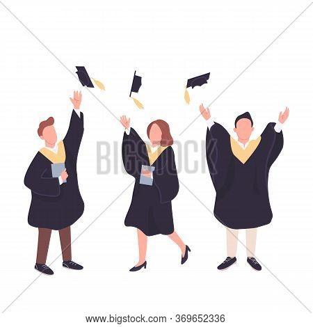 University Graduates Flat Color Vector Faceless Characters Set. Happy Students Throwing Bachelor Cap