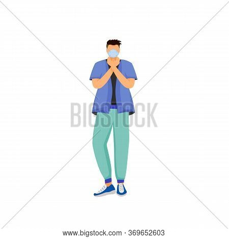 Man In Respiratory Mask Flat Color Vector Faceless Character. Male Patient With Mouth Protection. Pe