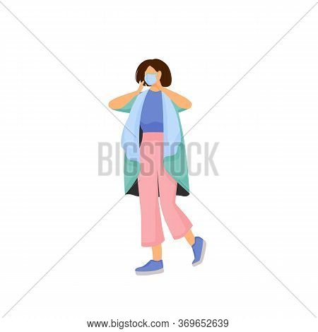 Woman In Face Mask Flat Color Vector Faceless Character. Mouth Protection From Dirty Air. Influenza