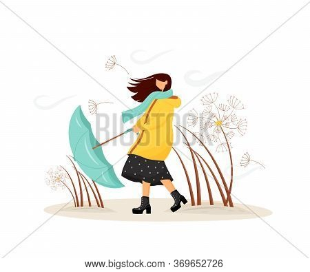 Windy Weather Flat Concept Vector Illustration. Woman In Coat With Umbrella In Storm. Female Walk In