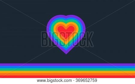 Pride Abstract Background With A Rainbow Flag And Rainbow Heart - Vector Illustration