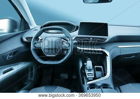 Modern Family Car Or Suv Vehicle Cabin Interior With Stylish Design And Large Led Displays
