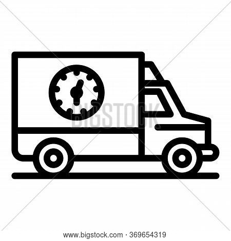 Truck Parcel Delivery Icon. Outline Truck Parcel Delivery Vector Icon For Web Design Isolated On Whi
