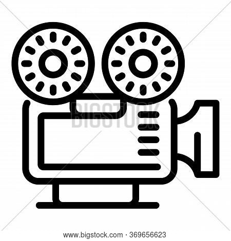 Video Reel Camera Icon. Outline Video Reel Camera Vector Icon For Web Design Isolated On White Backg