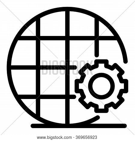 Net Communication Gear Icon. Outline Net Communication Gear Vector Icon For Web Design Isolated On W