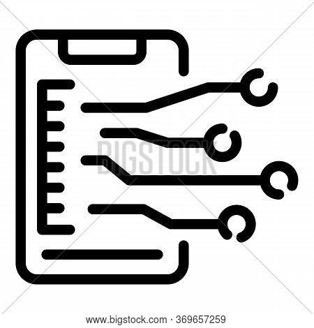 Smartphone Communication Scheme Icon. Outline Smartphone Communication Scheme Vector Icon For Web De