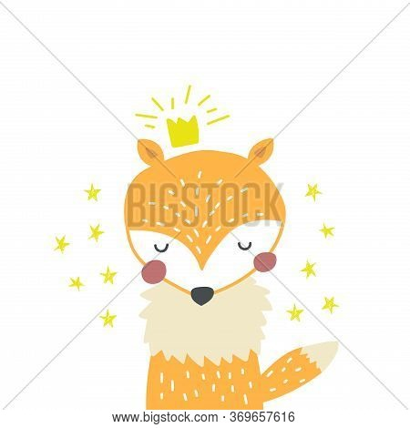 Little Baby Fox With Stars And Crown Isolated On White. Hand Drawn Cute Nordic Style Fox Character F