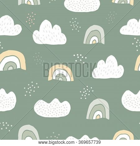 Nordic Seamless Pattern. Rainbow, Clouds And Dots In Childish Hand Drawn Trendy Style Background. Pa