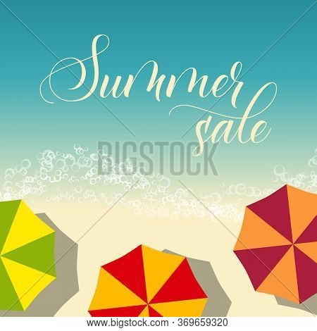 Beach Flyer Or Poster Template With Modern Brush Calligraphy Summer Sale. Vector Illustration
