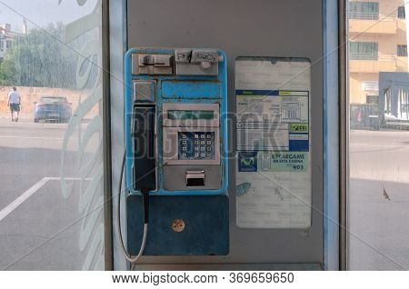 Campos, Balearic Islands/spain; June 2020: Typical Urban Phone Booth In Spain