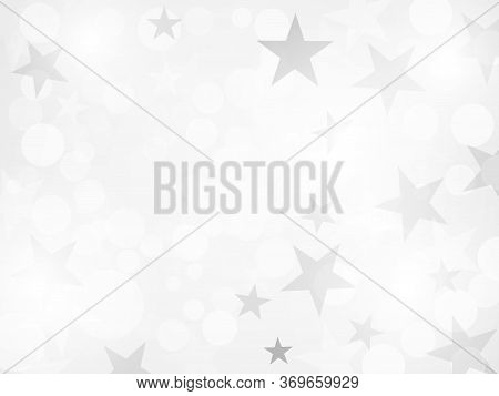 White Defocused Light Background. Flickering Lights With Stars. Abstract Festive Background With Bok