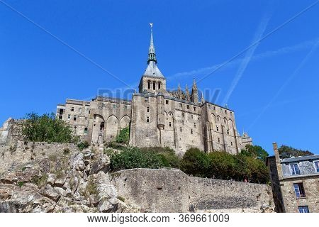 Mont Sent Michel, France - September 2, 2019: This Building Is A Fortified Benedictine Abbey, Locate