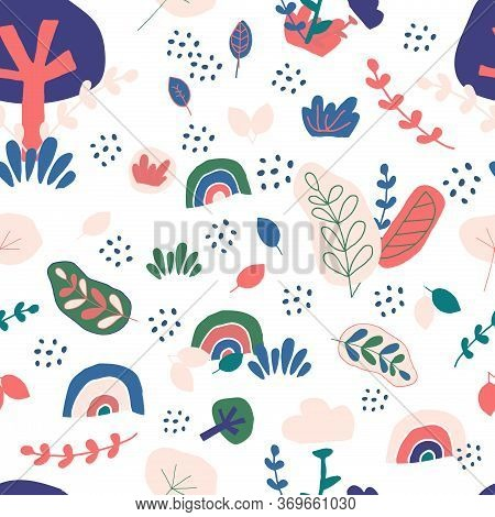 Nordic Seamless Pattern. Leaf, Tree, Rainbow, Grass In Childish Hand Drawn Trendy Style Background.