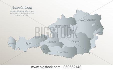 Austria Map, Administrative Division With Names, White Blue Card Paper 3d Vector