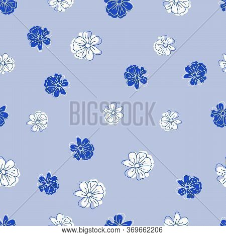 Floral Seamless Pattern In Blue Aquamarine Yellow Colors For Package Design, Web, Fabric, Wrapping P