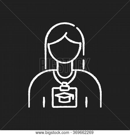 Intern Chalk White Icon On Black Background. Corporate Training For Trainee. Volunteer For Office Wo