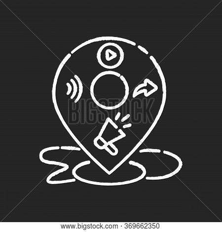 Local Mass Media Chalk White Icon On Black Background. Broadcast Promotion. E Commerce Strategy. Seo