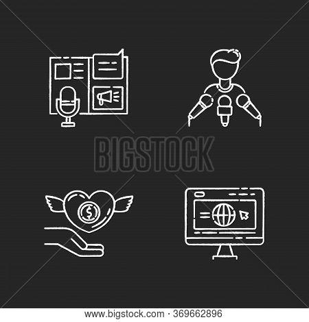 Public Relation Chalk White Icons Set On Black Background. Advertorial Press Release. Spokesperson W