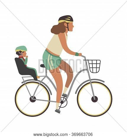 Woman And Child On Bicycle. Young Happy Mother With Baby Riding Vector Family Travel Activities Illu