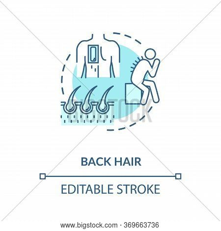 Back Hair Concept Icon. Common Male Problem, Mens Healthcare Issue Idea Thin Line Illustration. Exce