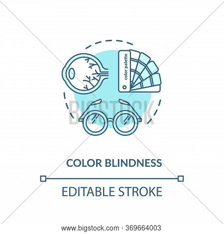 Color Blindness Concept Icon. Common Mens Problem, Genetic Eye Condition Idea Thin Line Illustration