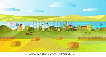 Horizontal Rural Landscape With Hills, Clouds, Trees, Bushes, River, Valley, Horses, Houses. Autumn