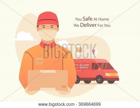 Delivery During Pandemic Coronovirus. Courier Using Surgical Mask With Box In His Hand. Portrait Fro
