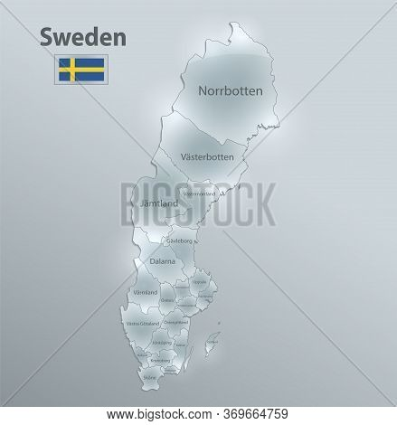 Sweden Map And Flag, Administrative Division, Separates Regions And Names Individual Region, Design