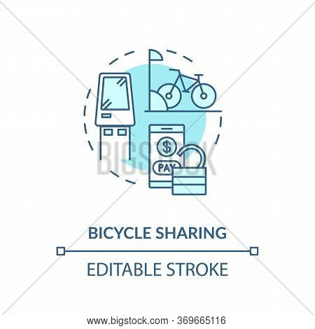 Bicycle Sharing Turquoise Concept Icon. Eco Friendly Urban Transit. Rental For Public Transportation