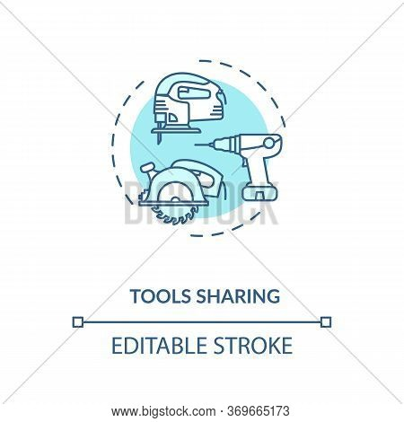 Tools Sharing Turquoise Concept Icon. Variety Of Instruments. Collaborative Work On Engineering Proj