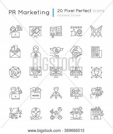Pr Marketing Pixel Perfect Linear Icons Set. Brand Image. Corporate Identity. Public Relation. Custo