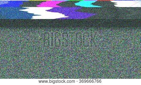 Glitch Noise Distortion Of Broken Video Image Background, Vhs Effect, Glitch Digital Color Pixel Noi