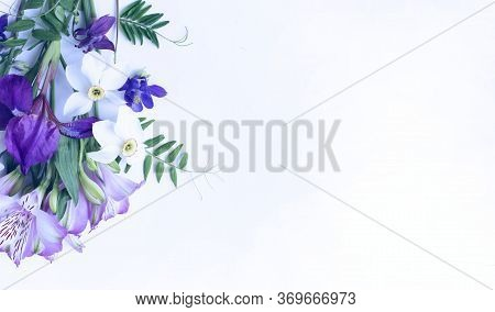 A Bouquet Of Spring Flowers - White Daffodils, Lilac Alstroemeria, Purple Irises On A White Backgrou