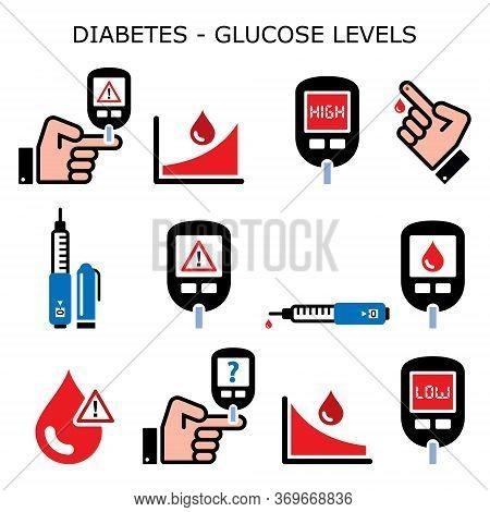 Diabetes, Diabetic Healthcare Vector Color Icons Set - High And Low Sugar, Glucose Levels - Hypoglyc