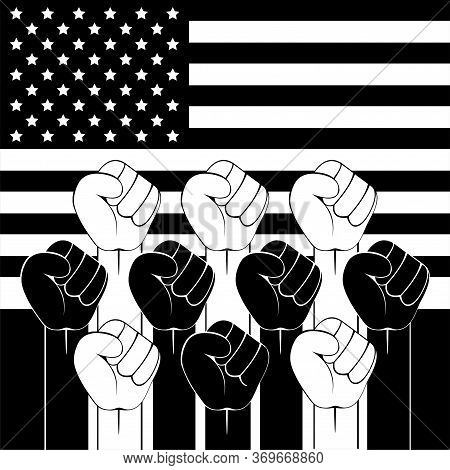 Black Lives Matter. Strong Fist Raised Up The Background Of The American Flag. Concept Black And Whi