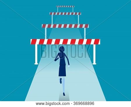 Face Front Of Many Obstacles. Barriers On The Way To Success Concept. Flat Vector Cartoon Style