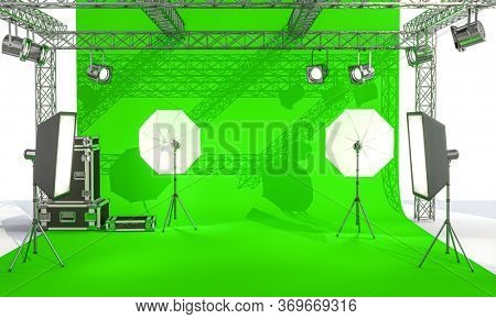 photographic set with lights and professional equipment on a green screen background. 3d render. nobody around.