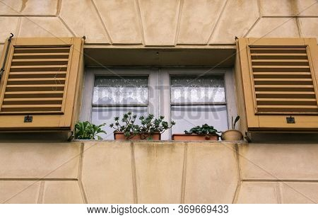 Isolated Window Of Building In Bergamo, Lombardy, Italy