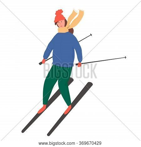 Young Happy Girl Riding On Ski Vector Flat Cartoon Illustration.