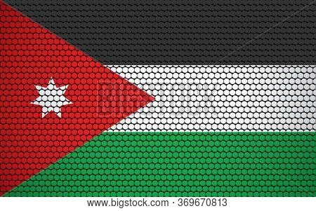 Abstract Flag Of Jordan Made Of Circles. Jordanian Flag Designed With Colored Dots Giving It A Moder