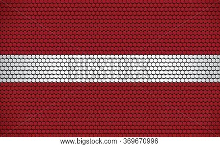 Abstract Flag Of Latvia Made Of Circles. Latvian Flag Designed With Colored Dots Giving It A Modern