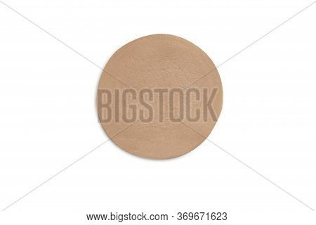 One Sliced Of Bologna Sausage In Circle Shape On White Isolated Background With Clipping Path. Bolog