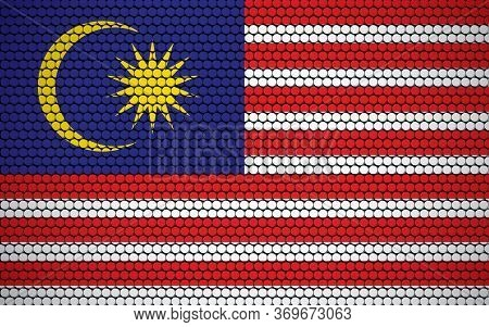 Abstract Flag Of Malaysia Made Of Circles. Malaysian Flag Designed With Colored Dots Giving It A Mod