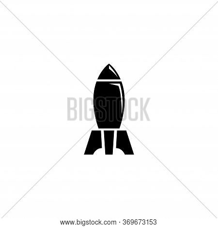 Nuclear Rocket Air Bomb, Atomic Bombshell. Flat Vector Icon Illustration. Simple Black Symbol On Whi