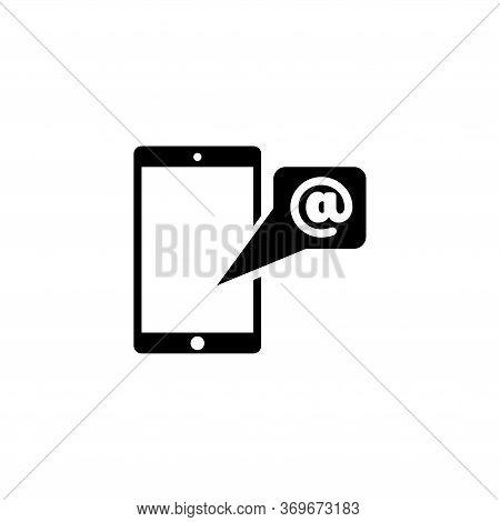 Unread Email Notification. Smartphone Message. Flat Vector Icon Illustration. Simple Black Symbol On