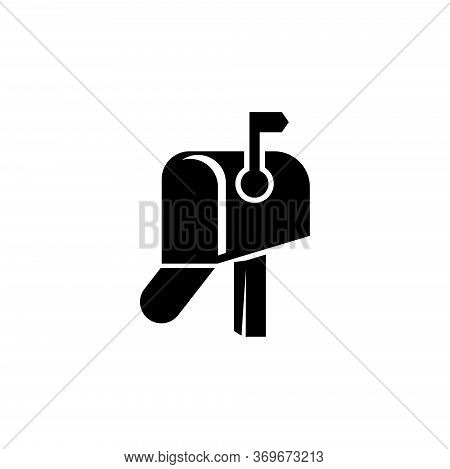 Retro Adress Postbox, Open Postal Mailbox. Flat Vector Icon Illustration. Simple Black Symbol On Whi
