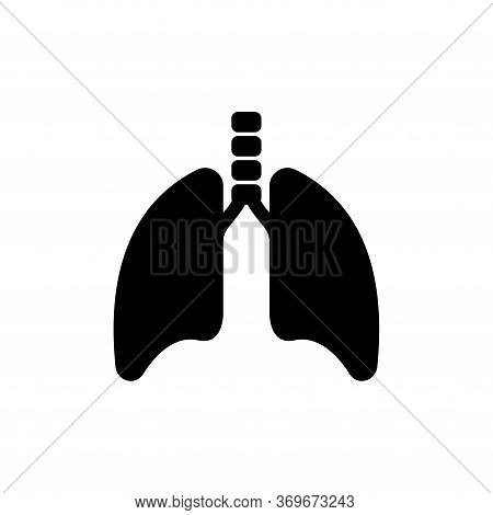 Lungs And Trachea, Human Respiratory Organ. Flat Vector Icon Illustration. Simple Black Symbol On Wh